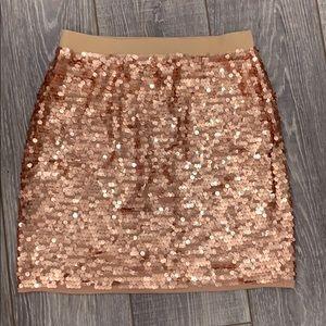 BCBGMaxazria rose gold sequin mini skirt
